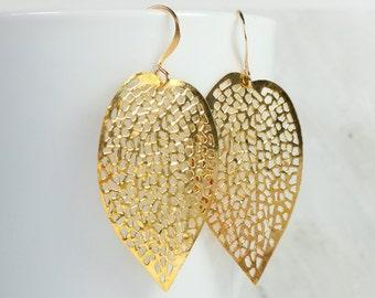 Large Gold Leaf Dangle Earrings, Gold Earrings, Leaf Gold Earrings, Large Gold Earrings, Gold Filigree Leaf Earrings
