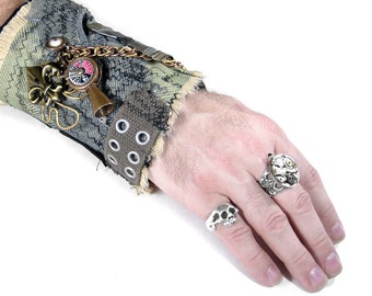 Steampunk Textile Cuff  Mens Wrist CUFF Vintage ESCUTCHEON Olive METAL Sexton Coils GEaRs Chain Mesh Keys - Steampunk Clothing by edmdesigns