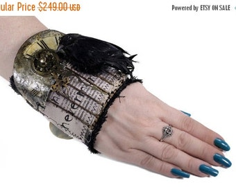 Steampunk Textile Cuff Hardcore GOTHIC Wrist Cuff Black Leather 3D Raven Cage Clock Gears Graphic AWESOME - Steampunk Clothing by edmdesigns