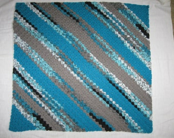 Diagonal Crocheted Lapghan in Turquoise, Gray, White and Black