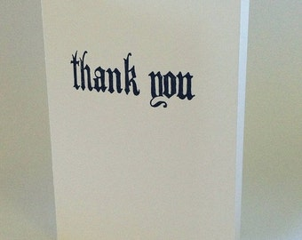 ON SALE hand drawn gothic thank you letterpressed card