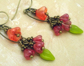Flower Dangle Earrings, Cluster, Handmade Neo Victorian Jewelry, Orange, Pink, Green, Colorful Floral Gypsy Botanical Nature Woodland