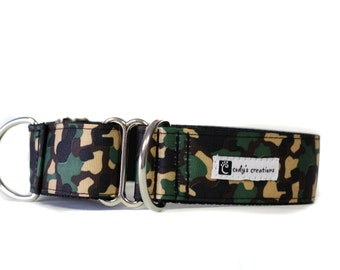 Wide 1 1/2 inch Adjustable Buckle or Martingale Dog Collar in Camo