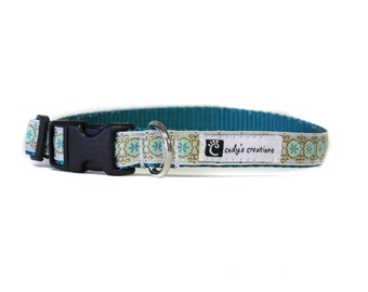 5/8 or 3/4 Inch Wide Dog Collar with Adjustable Buckle or Martingale in Medallion Green
