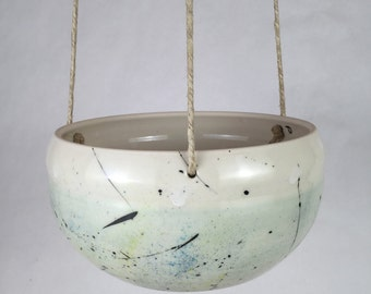 Large Handmade Ceramic Hanging Planter /Indoor Hanging Planter /Ceramic Air Plant Holder /Turquoise Spatter Painted Plant Pot