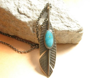 Sterling Silver Feather Necklace, Argentium And Turquoise Necklace Feather Pendant Necklace Southwest Metalsmith Jewelry, Turquoise Jewelry
