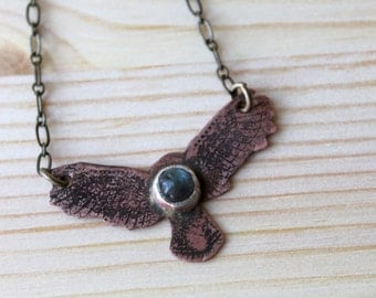 Labradorite Soaring Eagle Copper Necklace
