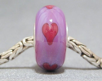 Lampwork Big Hole Bead SRA Handmade Jewelry Charm Hearts On Purple
