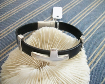 Silver Cross Faith leather  bracelet