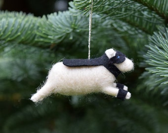 Super Hero Noir Lamb Ornament in Black - Needle Felted Sheep to the Rescue
