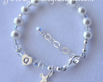 Sterling Silver Baptism Personalized Initial Rosary Children Bracelet, Baptism, First Communion Confirmation  Christening Bracelet