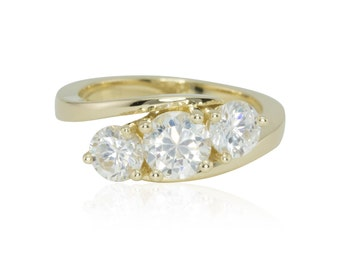 Three Stone Engagement Ring with Round cut CZs and Twisted Shank in 14k Yellow Gold - Vintage Inspired - LS4221