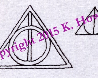 Deathly Hallows Symbol Hand Embroidery Pattern
