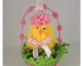 Easter Decoration Cute Chick  in a Green Paper Party Cup Easter Ornament Easter Decor for Easter Party