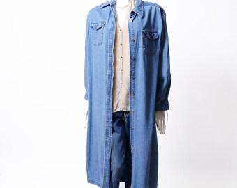 Vintage 60s Denim Duster //Women's Long Jeans Jacket// Vintage Classic Long Denim Dress // M