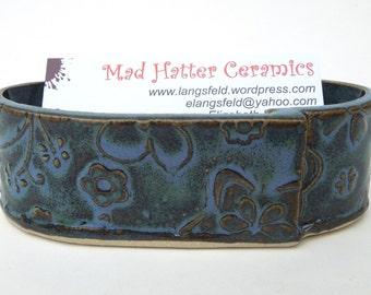 Slate Blue Textured Floral Handmade Ceramic Pottery Business Card Holder