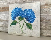 Hydrangeas-Acrylic Painting on White Washed Distressed Metal Sign