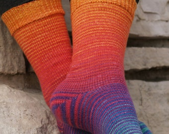 Over the Rainbow Gradient Stripes Matching Socks Set, 2-50g Cakes, Lavish (dyed to order)