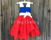 4th of July Girls Handkerchief Dress, 4th Of July Pageant Wear Dress, Red White Blue Summer Halter Dress