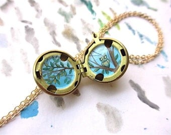 Miniature Owl Locket Necklace, Hand-Painted Pendant, Tiny Bird and Branches