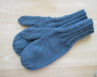 MITTENS HAND KNIT Adult Wool Opal Heather