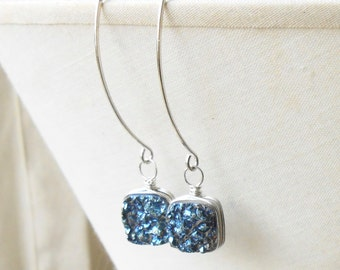 Blue Druzy Drop Earrings, Sterling Silver Wire Wrapped Agate Druzy Long Dangle Earrings