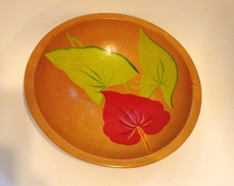 Anthurium Bowl Painted Wood Bowl VIntage 50s Bowl