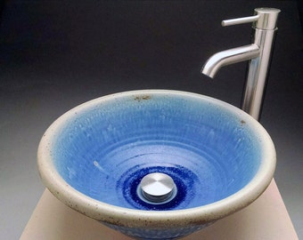 "15"" Handmade Bright Blue Pottery Vessel Sink, Designed for your Bathroom Remodeling- Made by Hand"