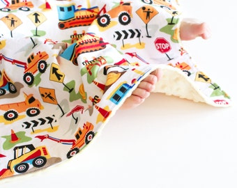 Baby Boy Blanket, Tot Town Dig It Lovie, Construction Machinery Security Blanket with Minky for Baby Boy Toddler Boy