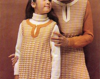 1970s Pinafore Tunic Dress w/ Sweater for teenager and young sister knitting pattern pdf Instant Download