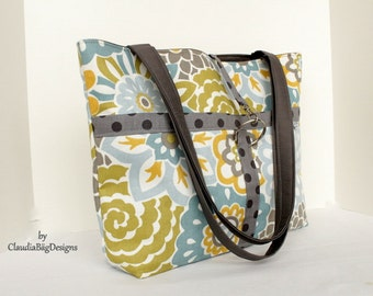 Classic Tote Shoulder Bag - Fabric Purse - Pastel Floral - Blue Gray Green Yellow-