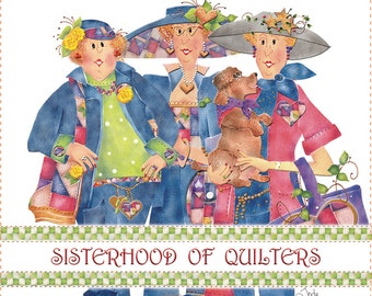 "AP6.15 - Sisterhood of Quilters - 6"" Fabric Art Panel"