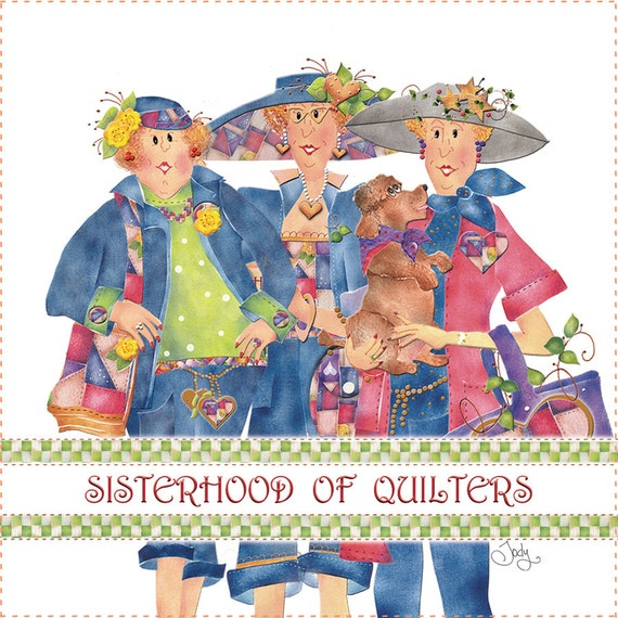 "6"" Sisterhood of Quilters Fabric Art Panel"
