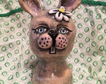 Bunny Rabbit Pottery Head with Daisy