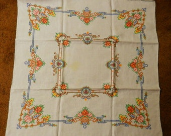 Vintage Embroidered Small Table Cloth / Table Runner Or Center Piece Handmade
