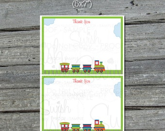 Train Thank You Card - Transportation - Planes Trains and Automobiles -  5x7 Thank you card note - digital printable