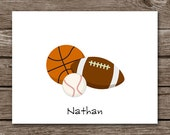 Sports Note Cards - Notecards - Basketball - Football - Baseball - Thank You Cards - Coach - Personalized - Set of 8