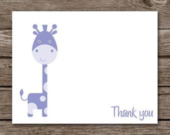PRINTABLE Giraffe Note Cards, Giraffe Cards, Baby Note Cards, Baby Thank You, Baby Shower Thank You, Jungle Cards, Zoo Cards