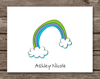 Rainbow Stationery - Stationary - Note Cards - Notecards - Personalized - Set of 8