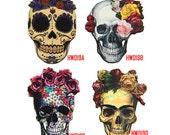 Vintage Flower Skull Charms, Laser Cut Wood Floral Pendants