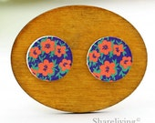 Buy 1 Get 1 Free - Orange Floral  Wooden Cabochon Button, 12mm 15mm 20mm  Round Handmade Photo Wood Cut Cabochon -- HWC047J