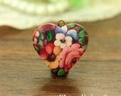 1pcs Vintage Floral  Locket Necklace, Vintage Flower Bronze Locket Charm Pendant, Antique Brass Locket - HLK910E