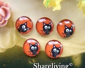 20% OFF SALE - 12mm Glass Dome, 8mm 10mm 14mm 16mm 20mm 25mm 30mm Round Halloween Cat glass Cabochon - BCH139J