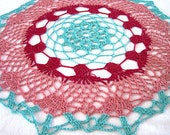 Medium Size - Teal Burgundy Dusty Rose Colored Hand Crocheted Round Doily 12-1/2