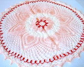 Large Size- Peach and Cream Orange Colored Hand Crocheted Pineapple Doily 28""
