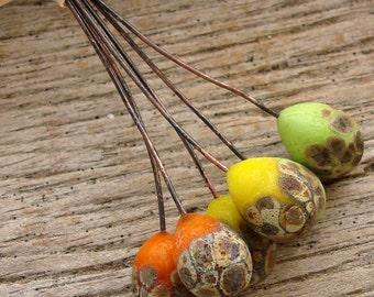 CITRUS - Handmade Lampwork Head Pins - 6 Headpins