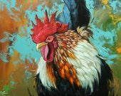 Rooster 827 24x30 inch original animal portrait oil painting by Roz