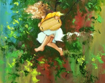 Swing painting 170 18x24 inch portrait original oil painting by Roz