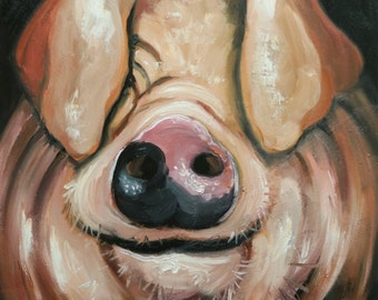 Pig painting 233 20x20 inch original oil painting by Roz