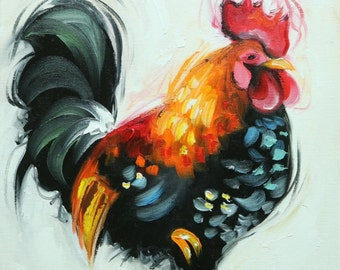Rooster 833 12x12 inch animal portrait original oil painting by Roz